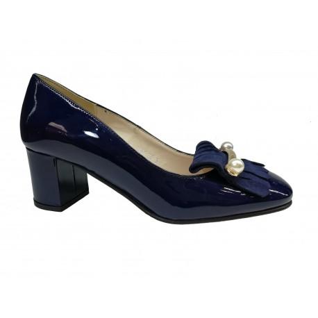 tmavě modré kožené lodičky s perličkami SAGAN 3144