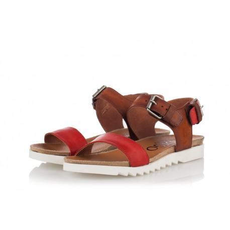 hnědo-červené kožené sandály INDIGO Shoes 1593