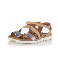 béžovo-modré kožené sandály INDIGO Shoes 1890