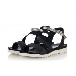 černo-stříbrné kožené sandály INDIGO Shoes 1890