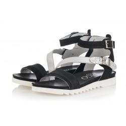 černo-stříbrné kožené sandály INDIGO Shoes 1686