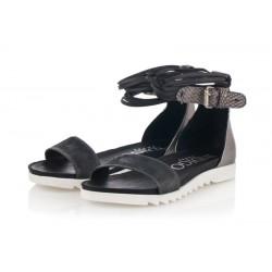 černo-stříbrné kožené sandály INDIGO Shoes 1888