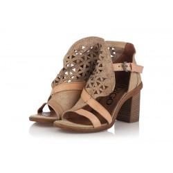 béžové kožené sandály na širokém podpatku INDIGO Shoes 1757