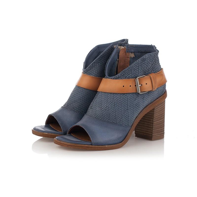 b52e87a39c58 Jarní Na Podpatku Kotníková Kožená Obuv Shoes 1864 Modrá Širokém Indigo  w5IqfnY