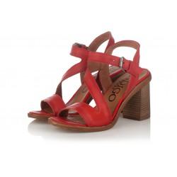červené kožené sandály na širokém podpatku INDIGO Shoes 1594