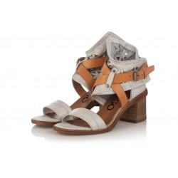 bílé kožené sandály na širokém podpatku INDIGO Shoes 1664