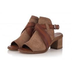 světle hnědé kožené sandály na širokém podpatku INDIGO Shoes 1883