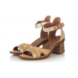 béžové kožené sandály na širokém podpatku INDIGO Shoes 1671