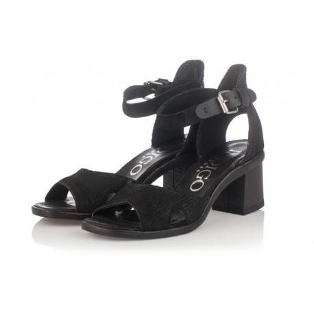 černé kožené sandály na širokém podpatku INDIGO Shoes 1671