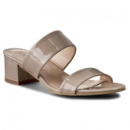 béžové kožené lakované pantofle SAGAN 2553