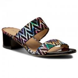 barevné kožené lakované pantofle na širokém podpatku SAGAN 2553