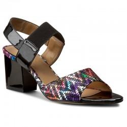 barevné kožené sandály na širokém podpatku SAGAN 2704