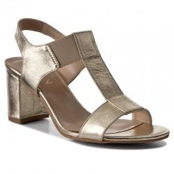 zlaté kožené sandály na širokém podpatku SAGAN 2927