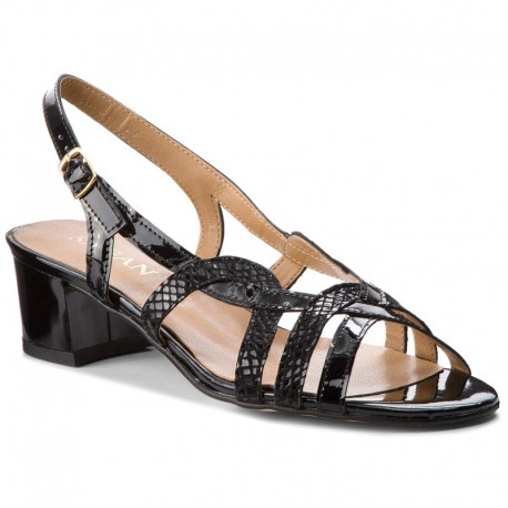 černé kožené sandály s crocco vzorem na širokém podpatku SAGAN 2070