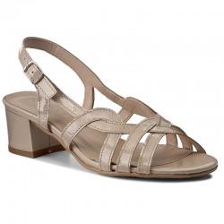 béžové kožené sandály s crocco vzorem na širokém podpatku SAGAN 2070
