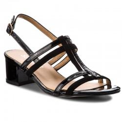 černé kožené sandály na širokém podpatku SAGAN 2930