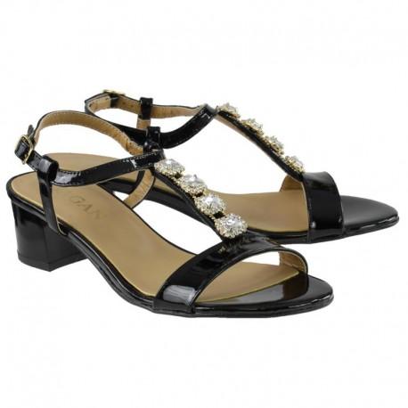 černé kožené sandály zdobené kamínky na širokém podpatku SAGAN 2887