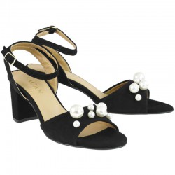 černé kožené sandály zdobené perličkami na širokém podpatku SAGAN 3241
