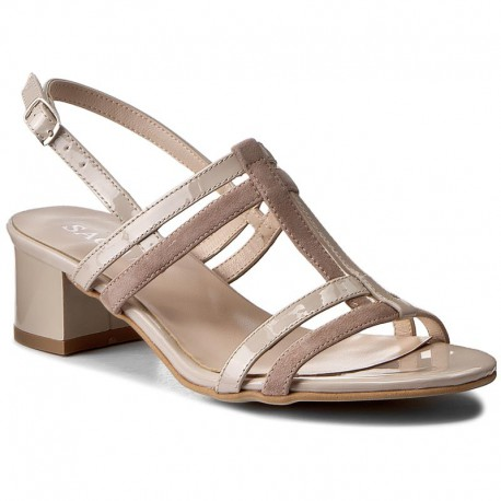 béžové kožené sandály na širokém podpatku SAGAN 2930