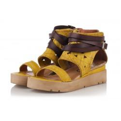žluté kožené sandály na platformě INDIGO Shoes 1874