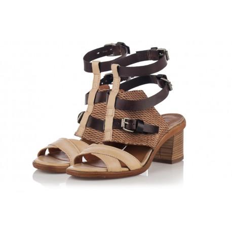 béžové kožené sandály na širokém podpatku INDIGO Shoes 1880