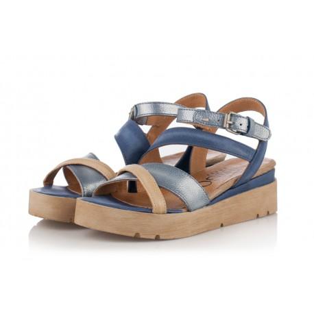 modré kožené sandály na platformě INDIGO Shoes 1886