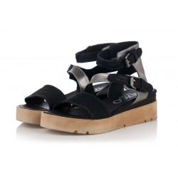 černé kožené sandály na platformě INDIGO Shoes 1889