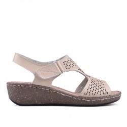 béžové kožené sandálky na klínu TENDENZ NTS18-076