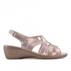 béžovo-zlaté kožené sandálky na klínu TENDENZ NTS18-081