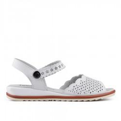 bílé kožené sandálky TENDENZ NTS18-084
