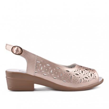 zlatavě růžové kožené sandálky na širokém podpatku TENDENZ NTS18-085