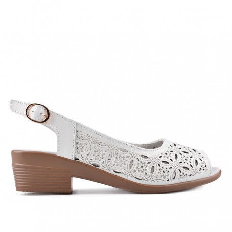 bílé kožené sandálky na širokém podpatku TENDENZ NTS18-085