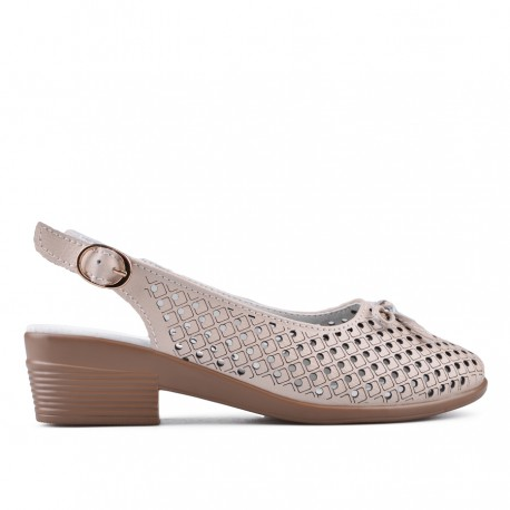 béžové kožené sandálky na širokém podpatku TENDENZ NTS18-088