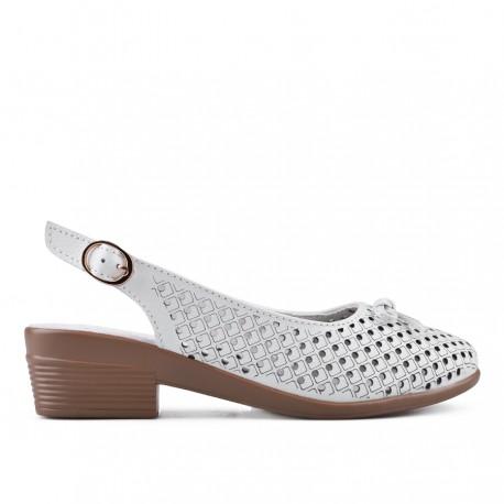 bílé kožené sandálky na širokém podpatku TENDENZ NTS18-088