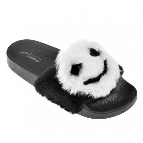 černé pantofle s obrázkem smajlíka TENDENZ PTS18-018