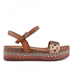 hnědé sandálky na platformě TENDENZ CRS18-007