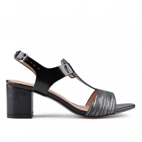 černé sandálky na širokém podpatku TENDENZ CRS18-013
