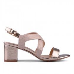 zlatavě růžové sandálky na širokém podpatku TENDENZ CRS18-015