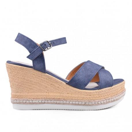 modré sandálky na klínu TENDENZ GBS18-024