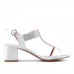 bílé sandálky na širokém podpatku TENDENZ GBS18-056