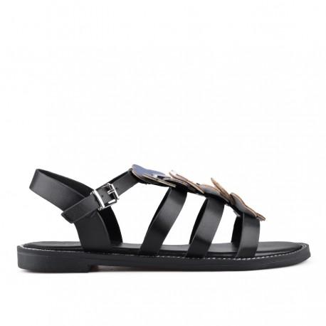 černé sandálky s kytičkami TENDENZ IES18-002