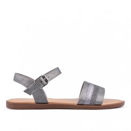 tmavě stříbrné sandálky na platformě TENDENZ IRS18-003
