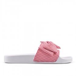 červené pantofle s proužky TENDENZ PTS18-013