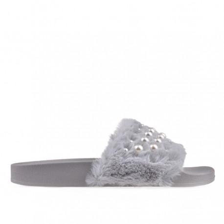 šedé pantofle s perličkami TENDENZ PTS18-014