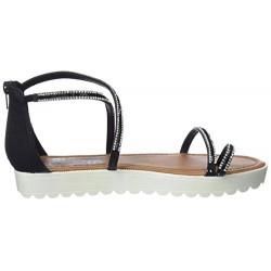 třpytivě černé sandálky na klínu Refresh 64202