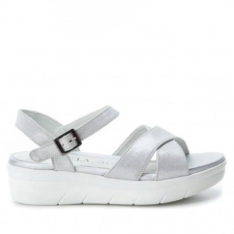 stříbrné kožené sandálky Carmela 66246