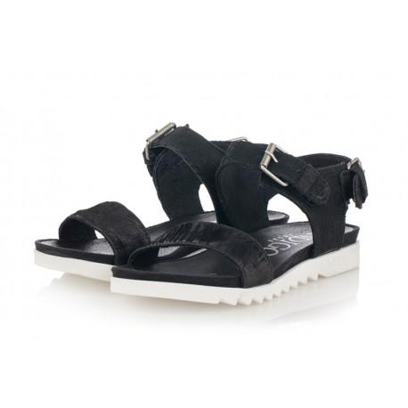černé kožené sandály INDIGO Shoes 1593