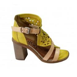 žluté kožené sandály na širokém podpatku INDIGO Shoes 1757