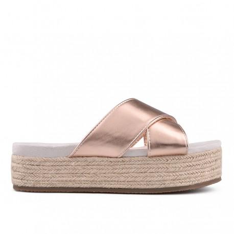 zlatavě růžové pantofle na platformě TENDENZ GBS18-016