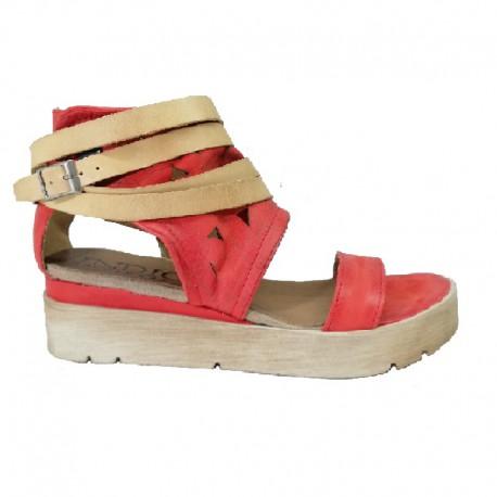 červené kožené sandály na platformě INDIGO Shoes 1874